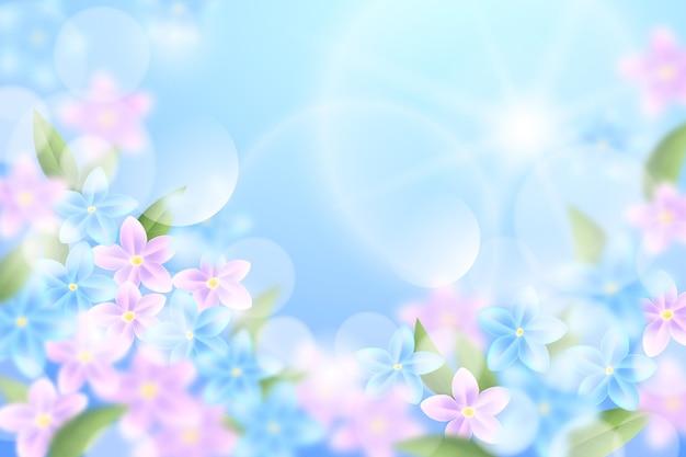 Niebo i różowe kwiaty realistyczne niewyraźne tło wiosna