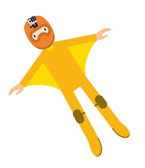 Niebo nurek w żółtym kolorze ekstremalnych sportu