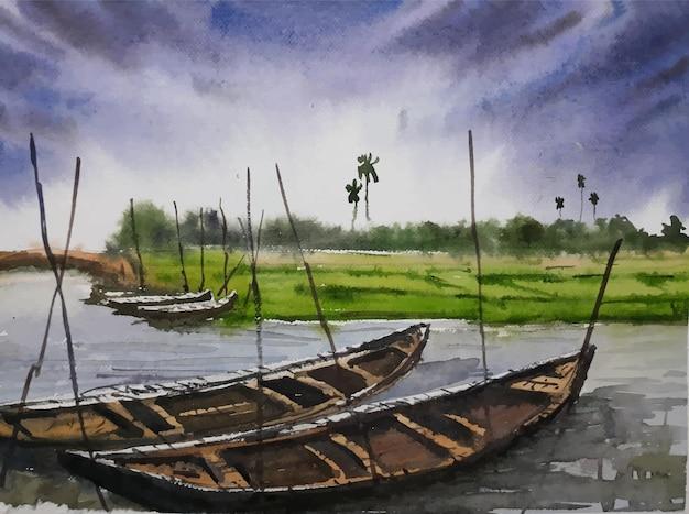 Niebo widok akwarela malarstwo łódź na rzece ilustracja