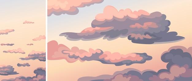 Niebo z chmurami o zachodzie słońca. zestaw naturalnych scenerii w układzie pionowym i poziomym.