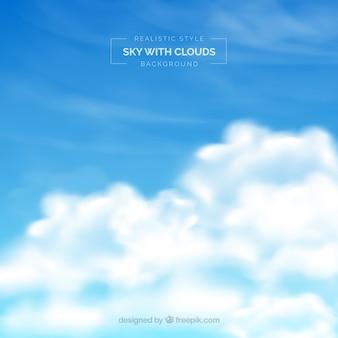 Niebo z chmurami tło w realistycznym stylu