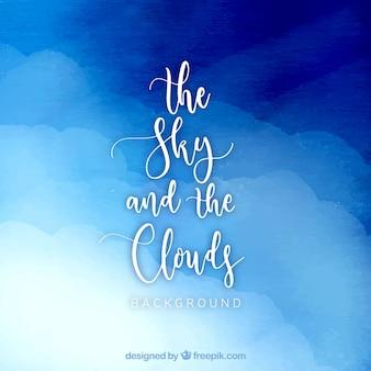 Niebo z chmury tle akwarela