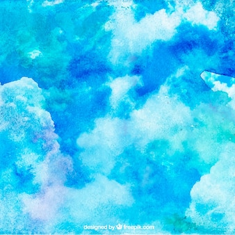 Niebo z chmury tło w stylu przypominającym akwarele
