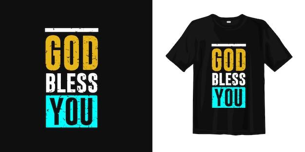 Niech cię bóg błogosławi. projekt koszulki zawiera cytaty o religii