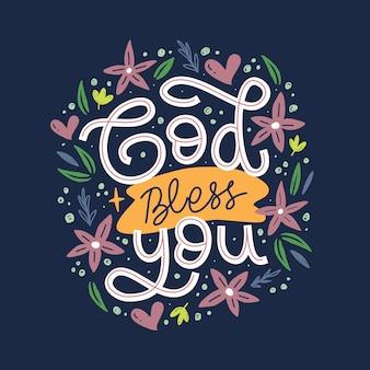Niech cię bóg błogosławi ręcznie rysowane napis inspirujący i motywujący cytat