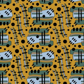 Nieczysty wzór powtarzalny do projektowania wyrobów włókienniczych na żółtym tle.