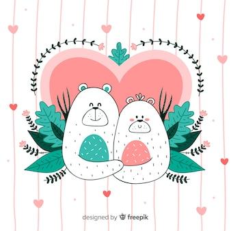 Niedźwiedź para Walentynki tła