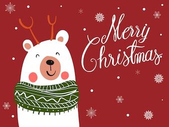 Niedźwiedź polarny szalik kreskówka z Christmas Festival