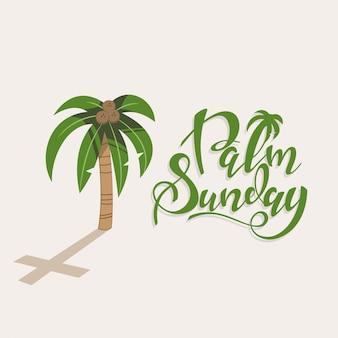 Niedziela palmowa odręczny tekst z drzewem z orzechami kokosowymi i cieniem w formie krzyża. projekt karty z pozdrowieniami chrześcijańskiego wakacje na białym tle.