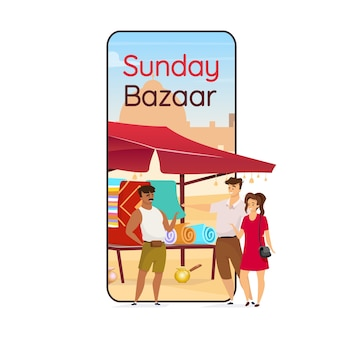 Niedzielny bazar na ekranie aplikacji na smartfona arabski suk. pamiątki z egiptu dla turystów. wyświetlacz telefonu komórkowego z makietą płaskiego projektu. interfejs telefoniczny aplikacji flea market