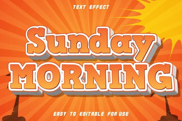 Niedzielny poranek edytowalny efekt tekstowy wytłoczony styl komiksowy