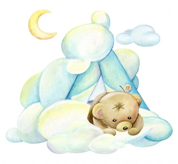 Niedźwiadek, patrząc w dół z chmur. akwarela clipart na na białym tle. plakat dziecięcy z uroczym zwierzęciem.