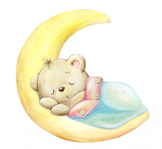 Niedźwiadek śpiący na księżycu pod kocem. akwarela
