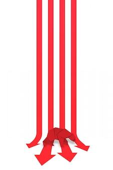Niedźwiadkowa papierowa sztuka i czerwona strzała papieru sztuka dla rynku papierów wartościowych wektoru i ilustraci