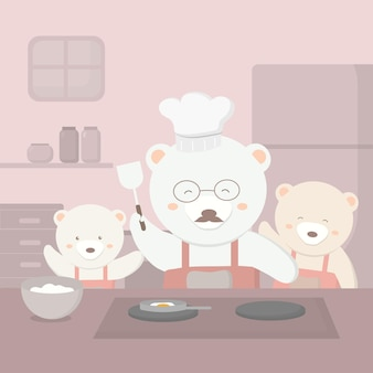Niedźwiadkowa rodzina przygotowuje się na przyjęcie z okazji dnia ojca ojciec miś idzie do kuchni gotować na dzień ojca