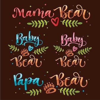 Niedźwiadkowa rodzina wygląda cytat kaligrafii. handdraw kolorowe wektor kaligrafii z prostym ręcznie rysowane niedźwiedź stóp i liści wystrój.