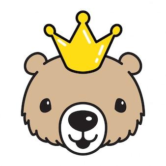 Niedźwiadkowa wektorowa niedźwiadkowa królewiątko korony kreskówka