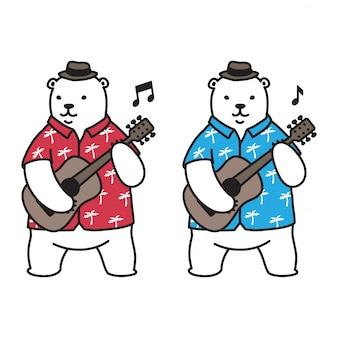 Niedźwiadkowa wektorowa niedźwiedź polarny gitary lata plaży hawaje loga ikony postać z kreskówki ilustracja