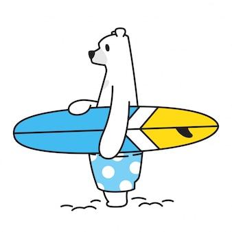 Niedźwiadkowa wektorowa niedźwiedzia polarnego ikony surfboard lata plaży oceanu postać z kreskówki ilustracja