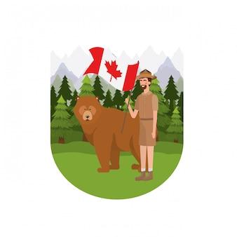 Niedźwiadkowy las anima i leśniczy kanady