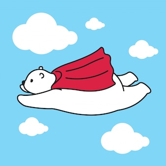 Niedźwiadkowy wektorowy niedźwiedź polarny lata peleryna postać z kreskówki