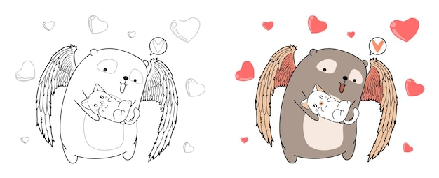 Niedźwiedź amorek przytula uroczego kota kreskówki do kolorowania