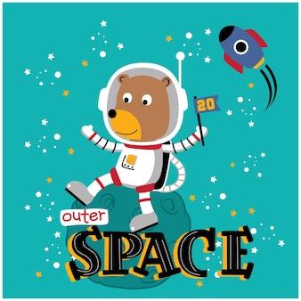 Niedźwiedź astronauta zabawna kreskówka zwierzęca