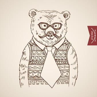 Niedźwiedź biznesmenów portret w stylu hipster ludzkie ubrania akcesoria sobie sweter okulary krawat.