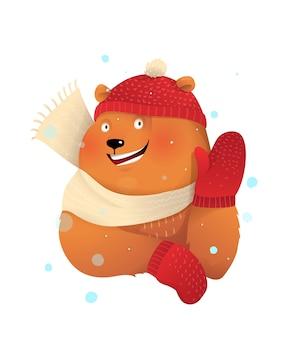 Niedźwiedź brunatny w dzianinowej czapce i szaliku macha na powitanie, zimę i boże narodzenie dla dzieci z życzeniami. dzieci wesoła ilustracja postaci zwierząt, kreskówka w stylu przypominającym akwarele.