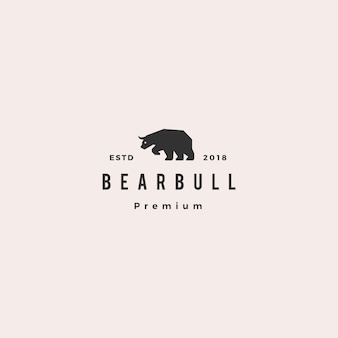 Niedźwiedź byk logo hipster retro vintage