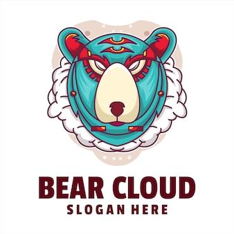 Niedźwiedź chmura cyborg logo wektor