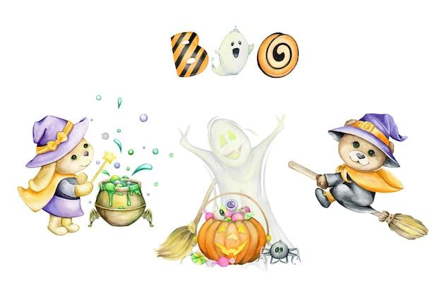 Niedźwiedź, duch, króliczek, w kostiumach, na święta halloween, na na białym tle, zestaw akwareli, zwierzęta, w stylu kreskówki.