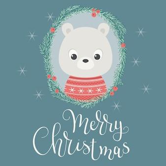 Niedźwiedź dziecka w boże narodzenie wieniec.