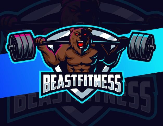 Niedźwiedź fitness kulturystyka maskotka projektowanie logo e-sport