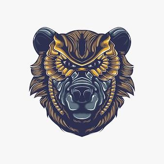Niedźwiedź głowa grafika ilustracja