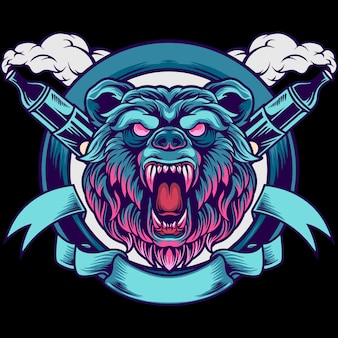 Niedźwiedź głowa vape maskotka ilustracja
