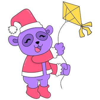 Niedźwiedź gra latawce na boże narodzenie, ilustracji wektorowych sztuki. doodle ikona obrazu kawaii.
