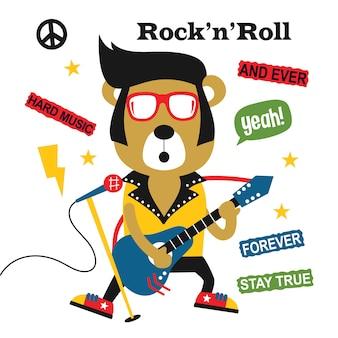 Niedźwiedź grający na gitarze / rock n roll, śmieszne kreskówki zwierząt