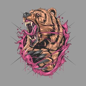 Niedźwiedź grizzly angry v artwork