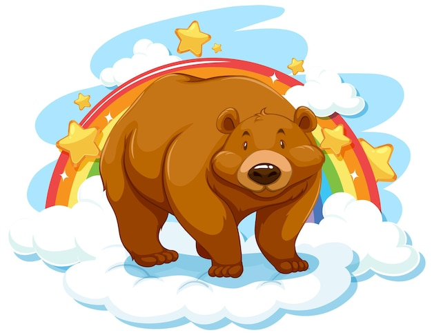 Niedźwiedź grizzly na chmurze z tęczą