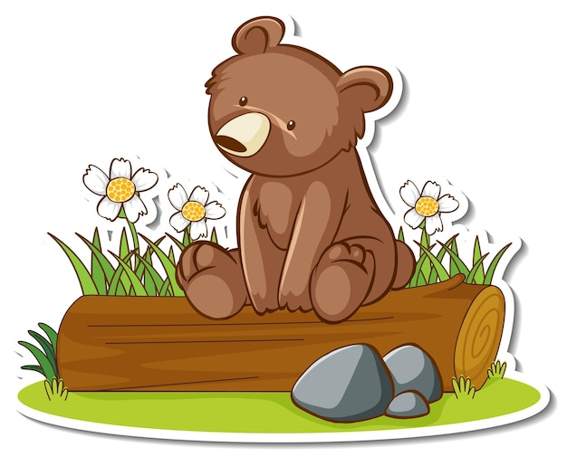 Niedźwiedź grizzly siedzący na naklejce z kłody