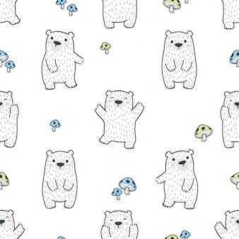 Niedźwiedź i grzyb wzór