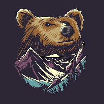 Niedźwiedź I Ilustracja Góry Premium Wektorów