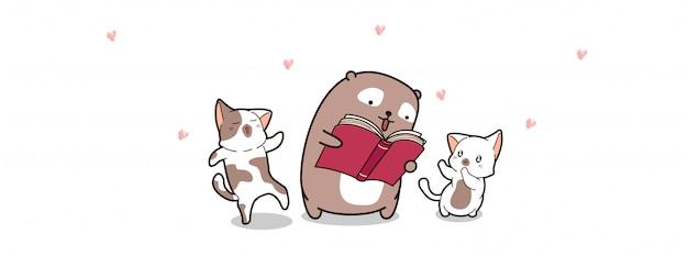 Niedźwiedź i koty czytają książkę w światowym dniu książki