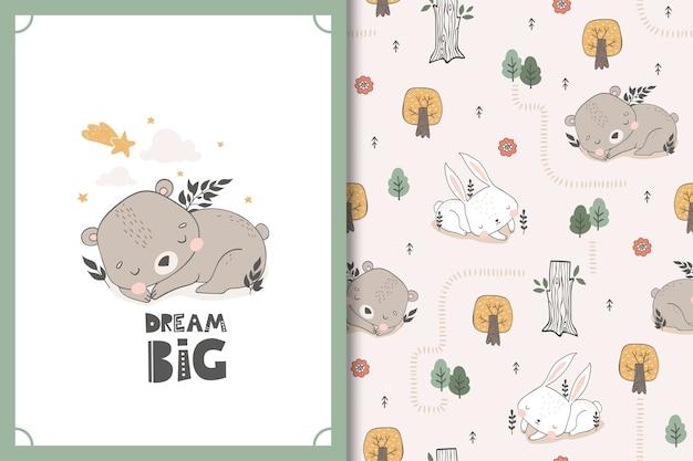 Niedźwiedź i królik wzór