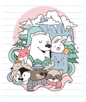 Niedźwiedź i zima doodle