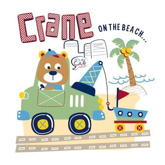Niedźwiedź i żuraw na plaży zabawna kreskówka zwierzęca