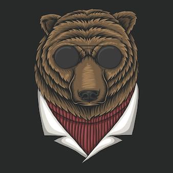 Niedźwiedź ilustracja okulary