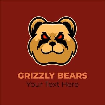 Niedźwiedź ilustracja szablon logo głowa zwierząt. gry z logo e-sportu premium wektor