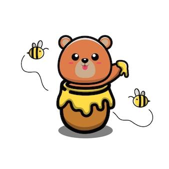 Niedźwiedź jedzący miód